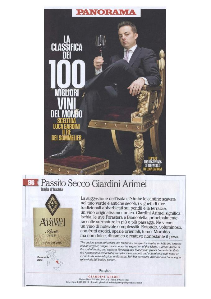 Passito giardini Arimei nei 100 TOP Wines