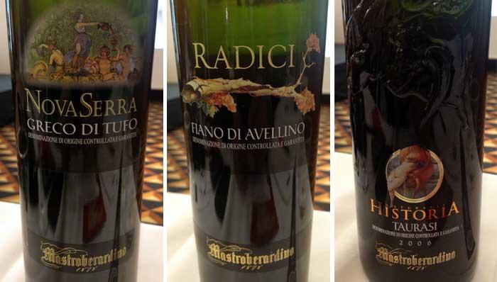 Batteria dei vini in degustazione