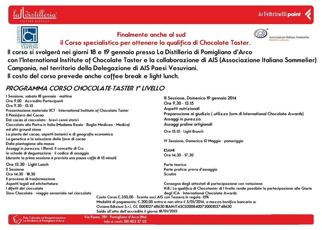 Programma Corso Chocolate Taster