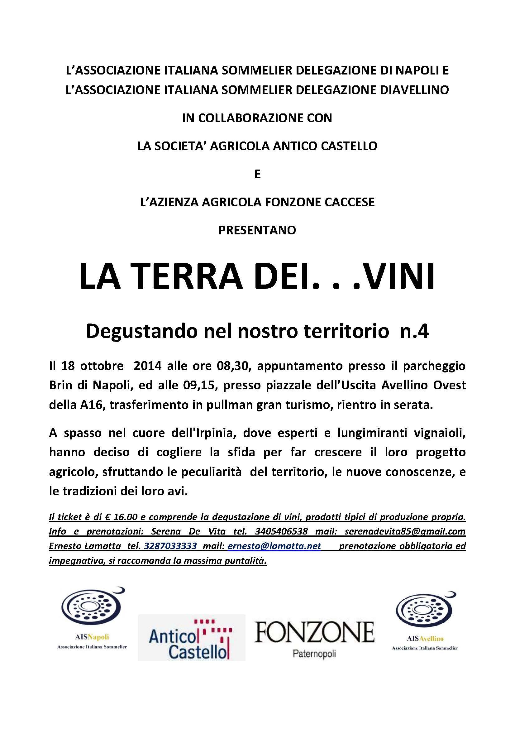 18 Ottobre, La Terra…dei vini con Fonzone Caccese e Antico Castello