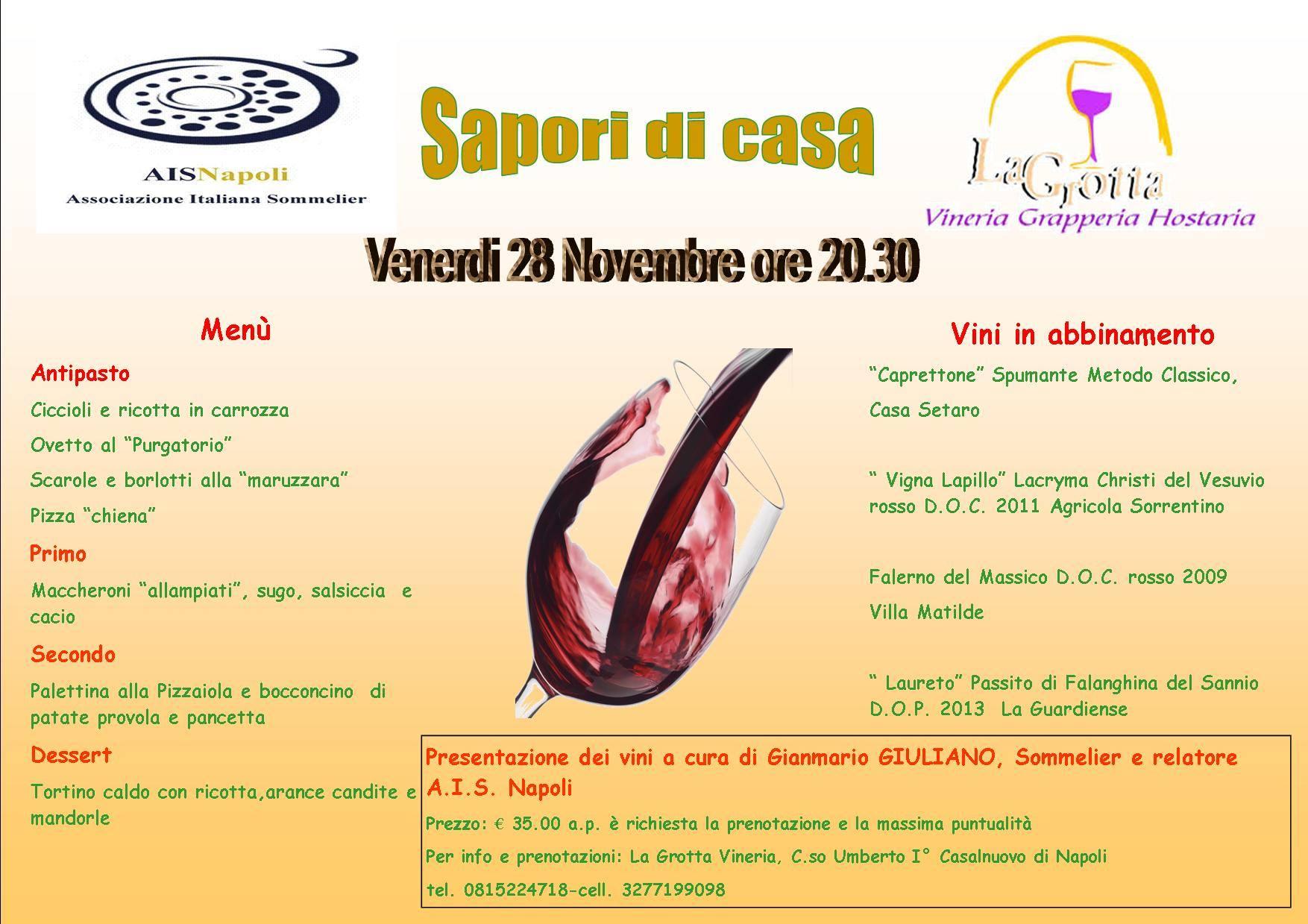 28 Novembre, Sapori di casa a La Grotta Vineria con Ais Napoli