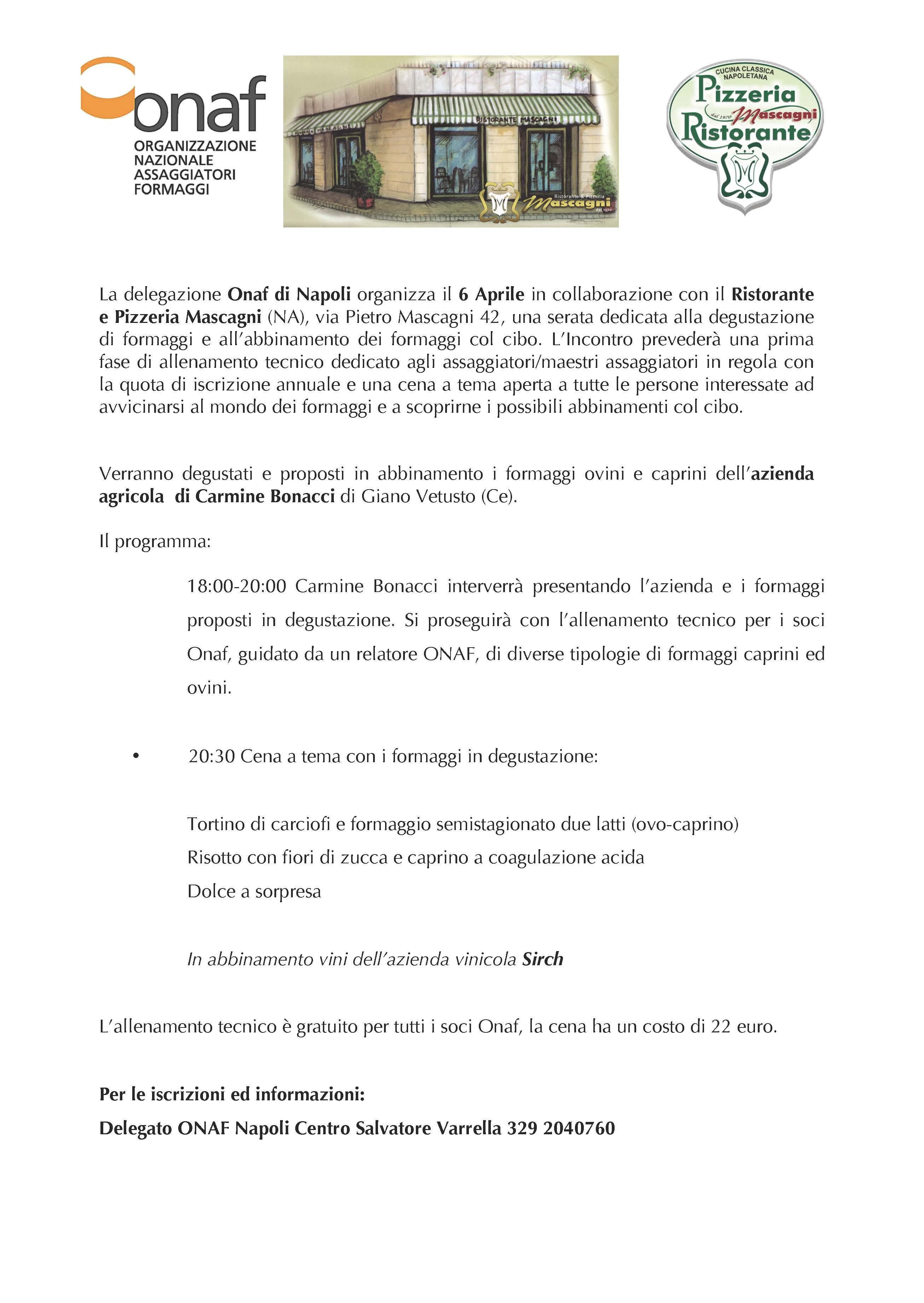 Degustazione 6 Aprile presso Ristorante Pizzeria  Mascagni