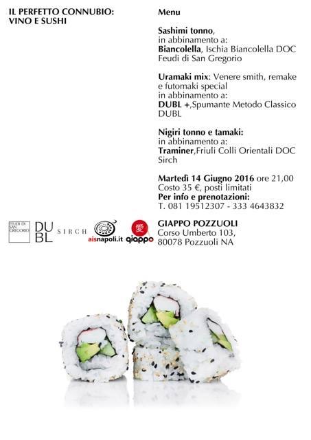 14 Giugno, Il perfetto connubio Vino e Sushi da Giappo Pozzuoli