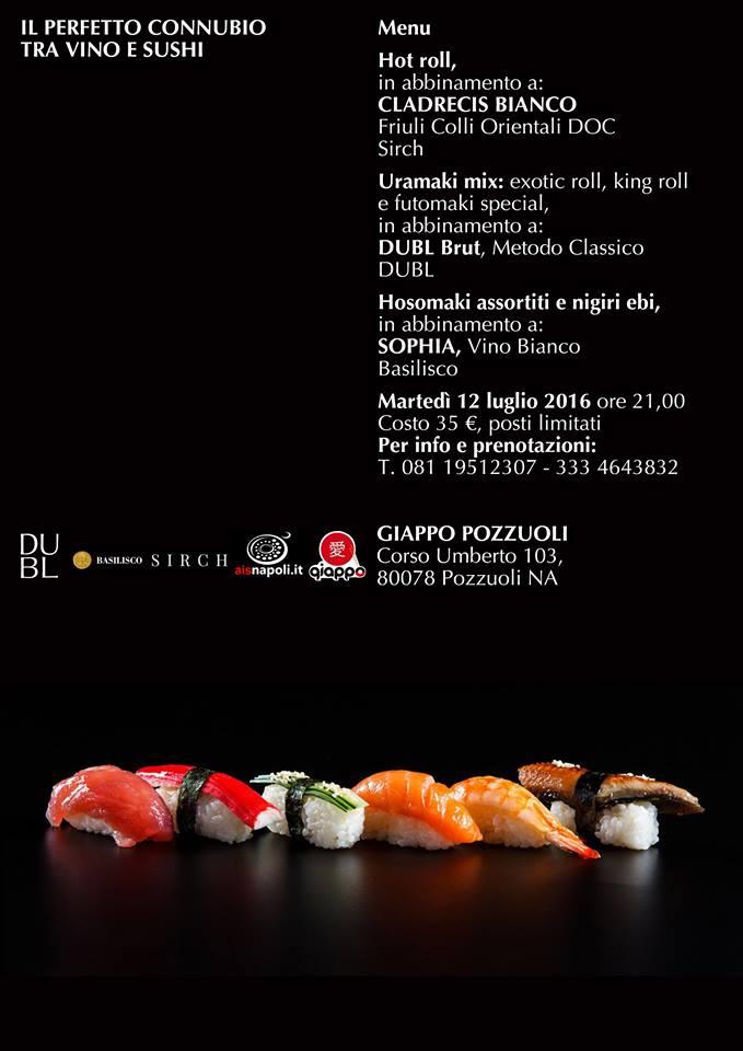 12 Luglio, Il perfetto connubio tra vino e sushi da Giappo Pozzuoli