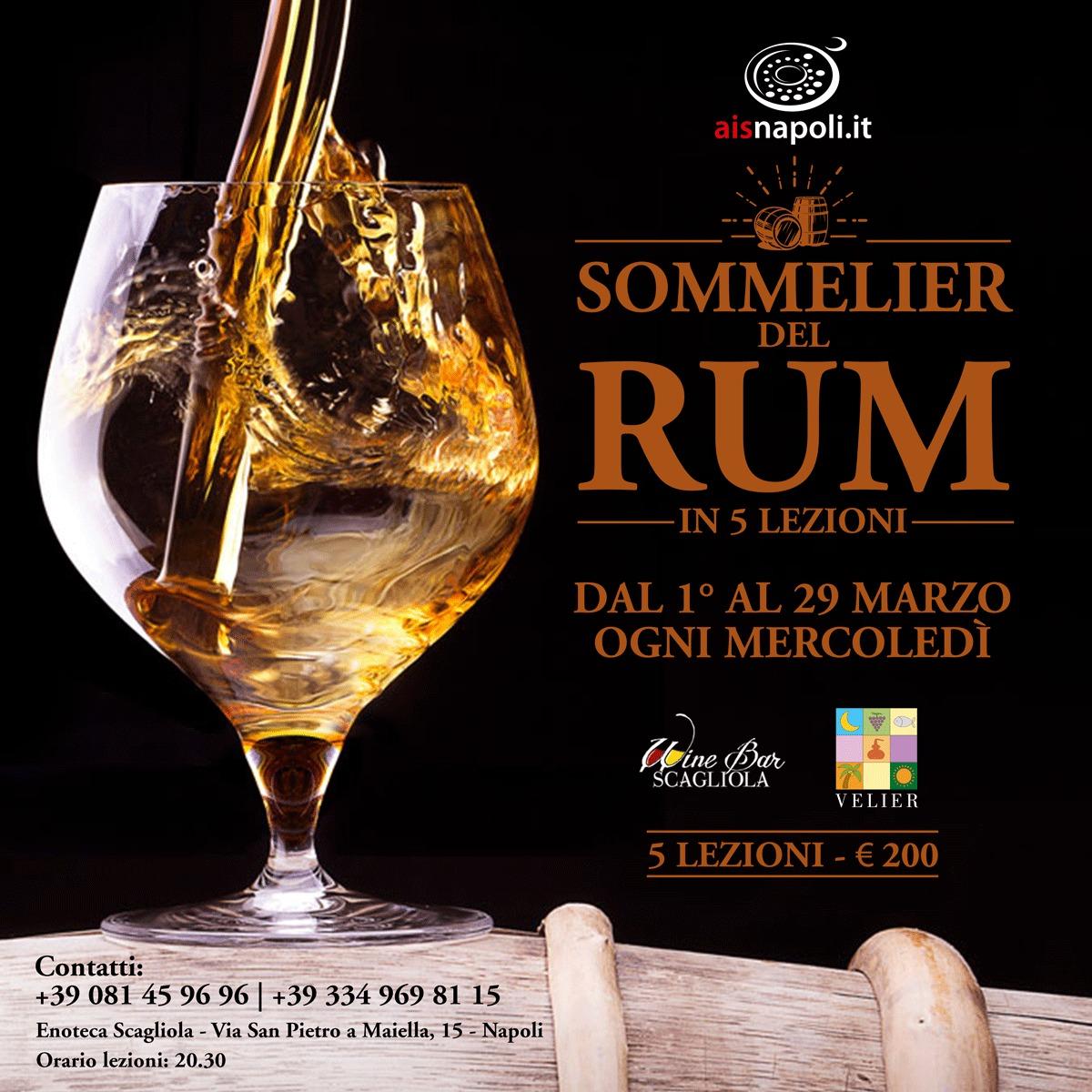 Dal 1 Marzo, Sommelier del Rum: #cinqueserate e 21 rum al Wine Bar Scagliola