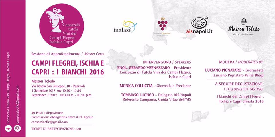 3 Settembre, Campi Flegrei, Ischia e Capri: I Bianchi 2016 per Malazè 2017