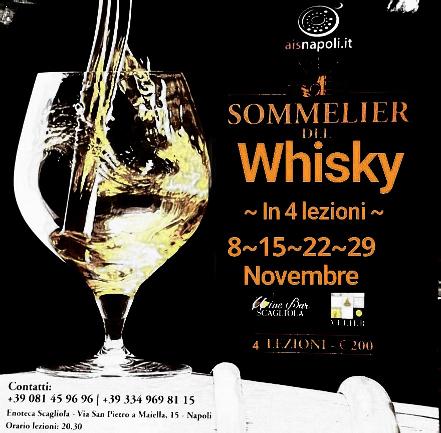 Dall'8 Novembre, Sommelier del Whisky in quattro lezioni all'Enoteca Scagliola