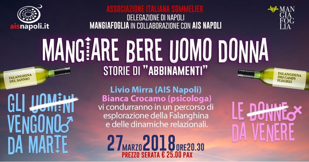27 Marzo, Mangiare bere uomo donna, storie di abbinamenti da Mangiafoglia con Ais Napoli