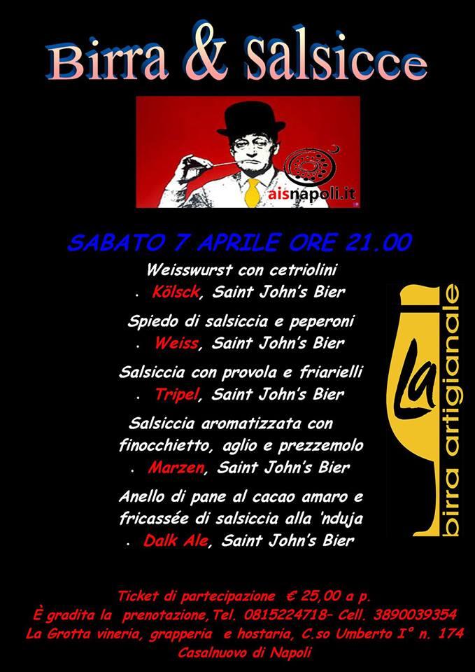 7 Aprile, Birra & Salsicce a La Grotta Vineria con Ais Napoli